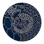 Sashiko-style Embroidery Round Car Magnet