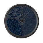 Sashiko-style Embroidery Large Wall Clock