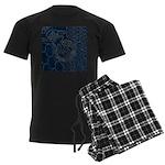 Sashiko-style Embroidery Men's Dark Pajamas
