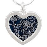 Sashiko-style Embroidery Silver Heart Necklace