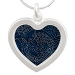 Sashiko-style Embroidery Silver Heart Necklace