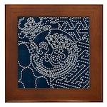 Sashiko-style Embroidery Framed Tile