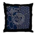 Sashiko-style Embroidery Throw Pillow