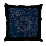 Sashiko-style Embroidery Throw Pillow