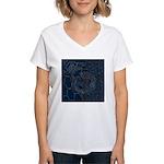 Sashiko-style Embroidery Women's V-Neck T-Shirt