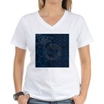 Sashiko-style Embroidery Women's V-Neck T-Shirt