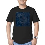 Sashiko-style Embroidery Men's Fitted T-Shirt (dar