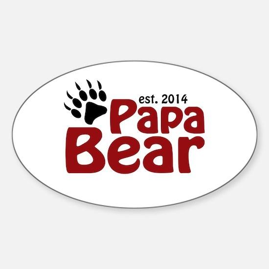 Papa Bear New Dad 2014 Sticker (Oval)