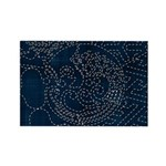 Sashiko-style Embroidery Rectangle Magnet (10 pack
