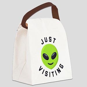 Just Visiting Alien Emoji Canvas Lunch Bag