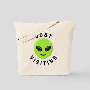 Just Visiting Alien Emoji Tote Bag