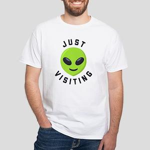Just Visiting Alien Emoji White T-Shirt