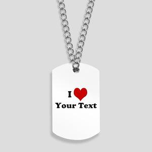 Customized I Love Heart Dog Tags