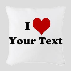 Customized I Love Heart Woven Throw Pillow
