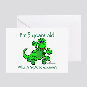 Greeting Cards (10-pack):3 Year Old DINOSAUR