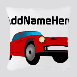 Sports Car, Custom Name Woven Throw Pillow