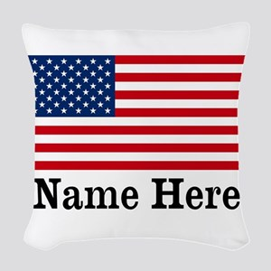 Personalized American Flag Woven Throw Pillow