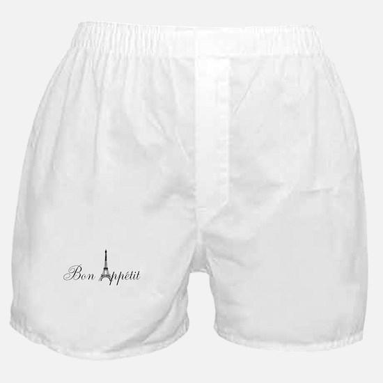 Bon Appetit Paris French Eiffel Tower Boxer Shorts