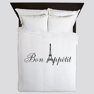 Bon Appetit Paris French Eiffel Tower Queen Duvet