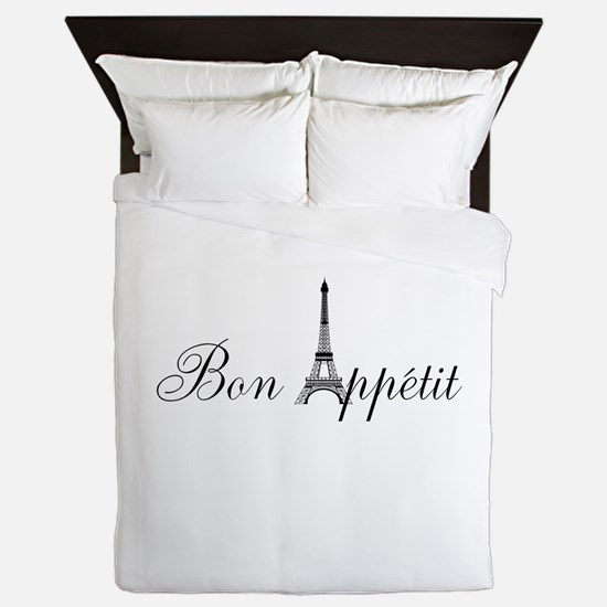Bon Appetit Paris French Eiffel Tower Queen Duvet