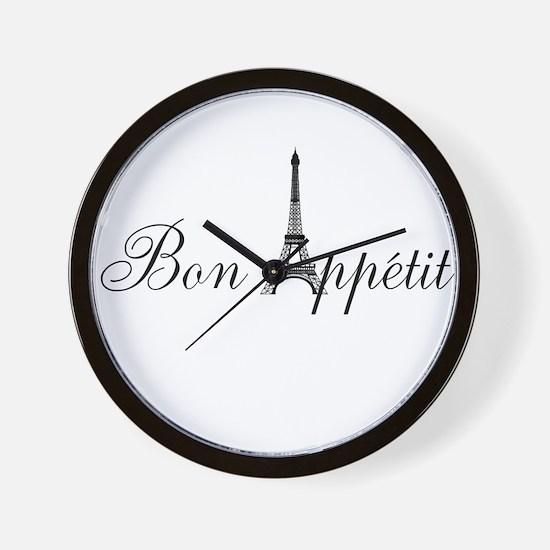 Bon Appetit Paris French Eiffel Tower Wall Clock