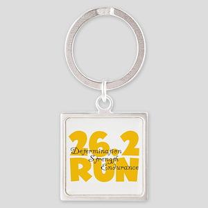 26.2 Run Yellow Square Keychain