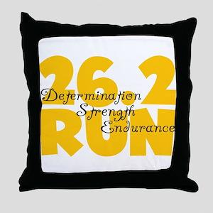 26.2 Run Yellow Throw Pillow