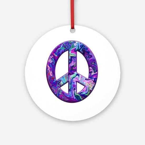 Hippy Peace, purple Ornament (Round)