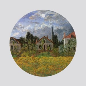 Houses at Argenteuil by Claude Mone Round Ornament