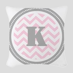 Pink Chevron K Monogram Woven Throw Pillow
