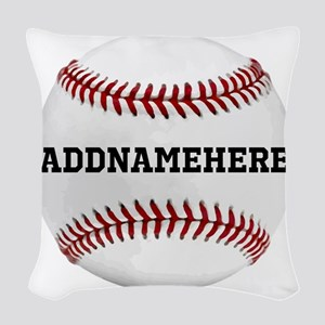 Personalized Baseball Red/white Woven Throw Pillow