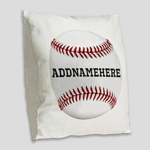 Personalized Baseball Red/White Burlap Throw Pillo