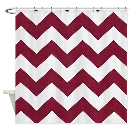 Dark Red And White Chevron Shower Curtain