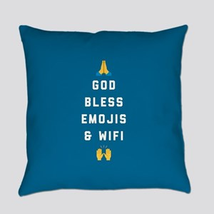 God Bless Emojis and WiFi Everyday Pillow
