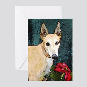 Greyhound Christmas Kaitlyn Greeting Cards