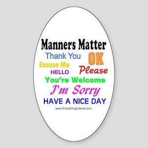 Manners Matter Oval Sticker