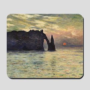 Cliff, Etretat, Sunset by Claude Monet Mousepad