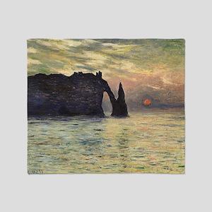 Cliff, Etretat, Sunset by Claude Mon Throw Blanket