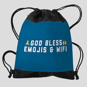 God Bless Emojis and WiFi Drawstring Bag