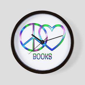 Peace Love Books Wall Clock