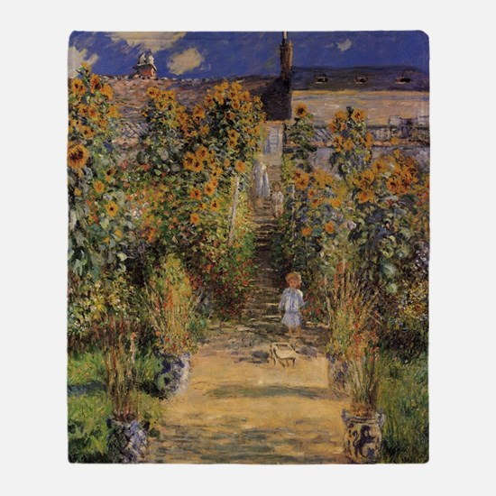 Artist's Garden at Vetheuil by Claud Throw Blanket