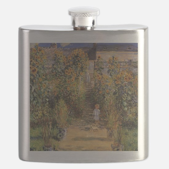 Artist's Garden at Vetheuil by Claude Monet Flask