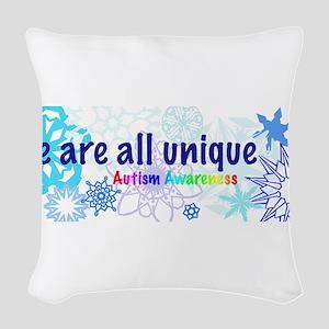 snowflakes_autism Woven Throw Pillow