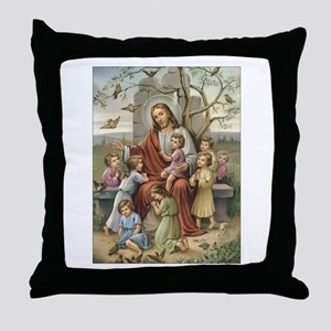 Jesus and Children Throw Pillow