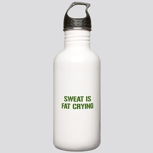 sweat-is-just-fat-crying-gun-green Water Bottle