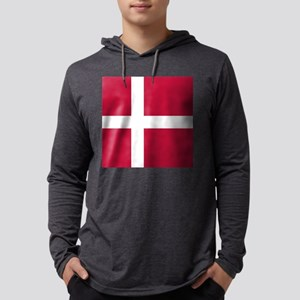 Danish Flag Mens Hooded Shirt