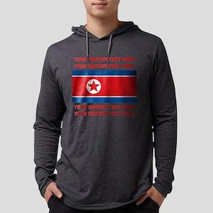 CUSTOM TEXT Vintage North Korea Flag Mens Hooded S