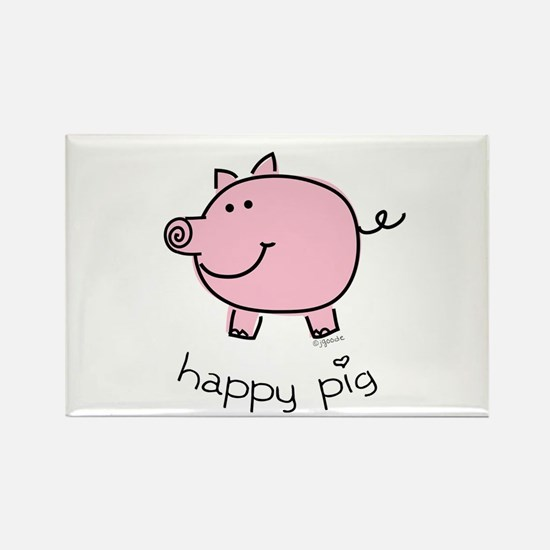 Happy Pig Rectangle Magnet