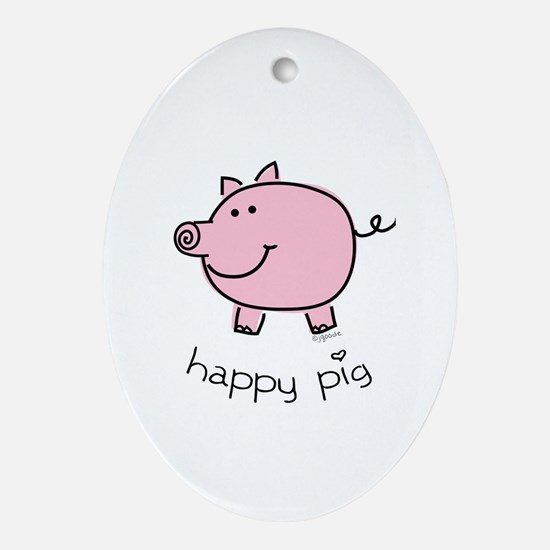 Happy Pig Oval Ornament
