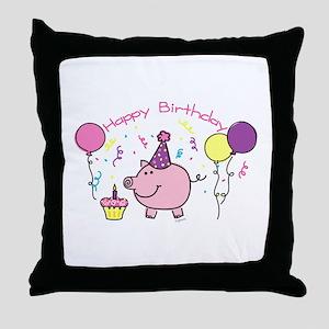 Girl Happy Birthday Throw Pillow